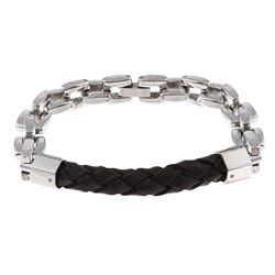 Stainless-Steel and Black Leather Men's Chain Bracelet