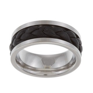 Stainless Steel and Black Leather Men's Band