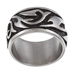 Black ion-plated Stainless Steel Men's Swirl Band