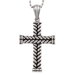 Stainless Steel Men's Braided Cross Necklace