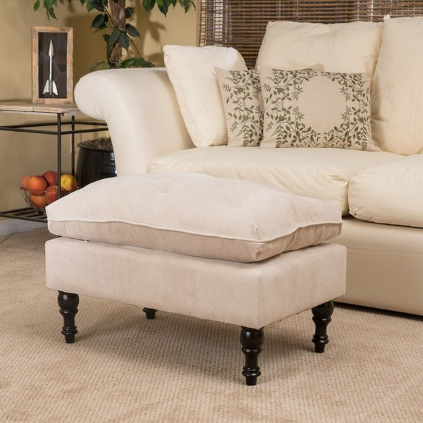 Christopher Knight Home Creme Tufted Fabric Ottoman