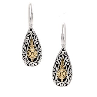 Sunstone Sterling Silver and 14k Gold Bali Filigree Teardrop Earrings
