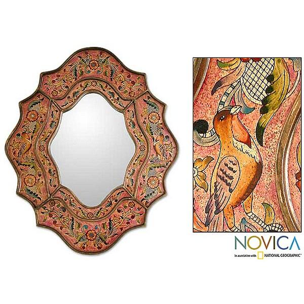 Reverse Painted Glass 'Romance' Mirror , Handmade in Peru