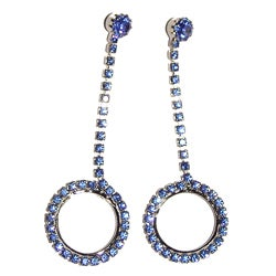 Detti Originals Silvertone Brass Blue Crystal Circle Drop Earrings