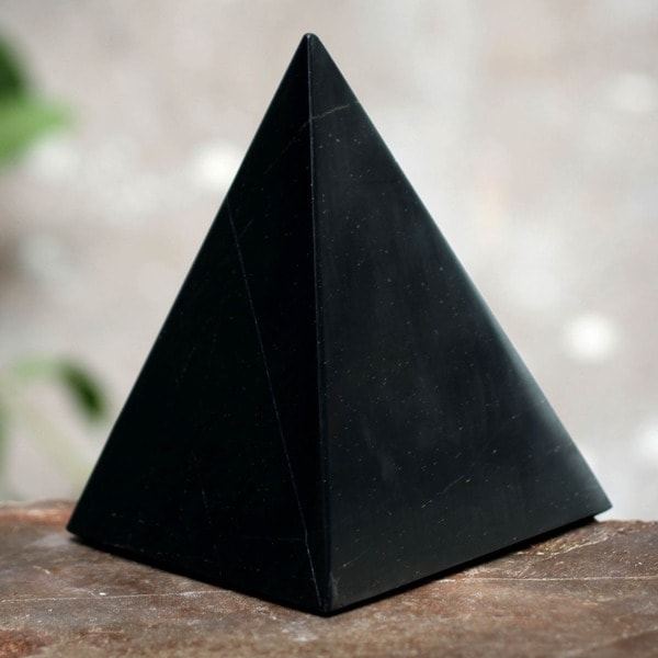 Onyx 'Black Night of Peace' Pyramid Sculpture , Handmade in Peru