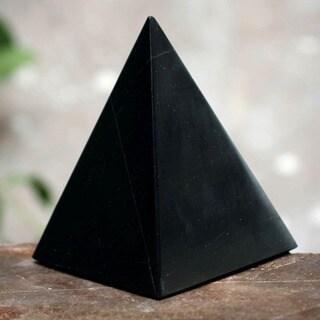 Onyx 'Black Night of Peace' Pyramid Sculpture , Handmade in Peru
