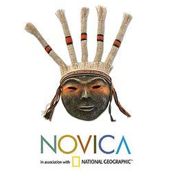 Set of 2 Handcrafted Papier Mache 'Inca Offering' Masks (Peru)