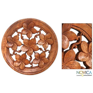 Suar Wood 'Frangipani' Wall Panel (Indonesia)