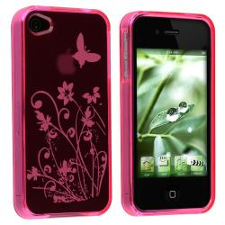 Hot Pink/ Flower Butterfly TPU Rubber Case for Apple iPhone 4