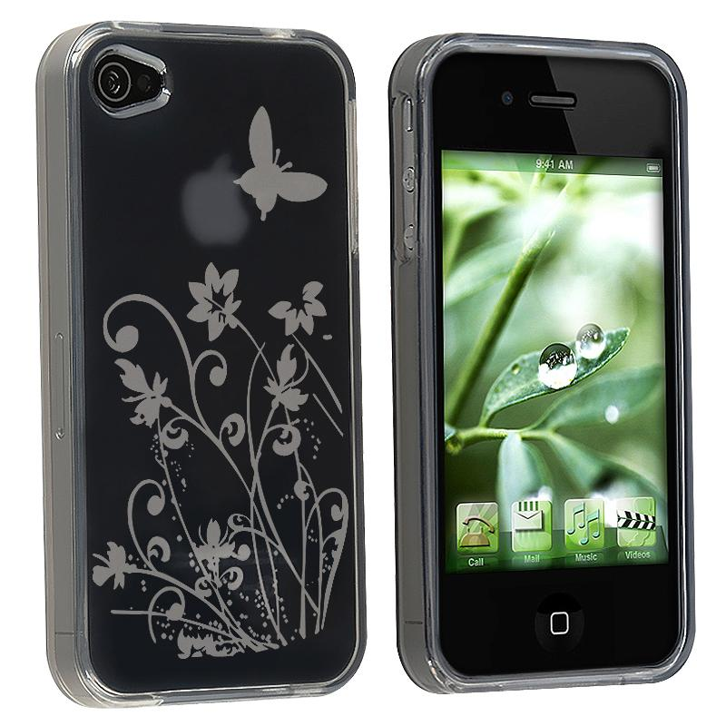 Smoke/ Flower Butterfly TPU Rubber Case for Apple iPhone 4