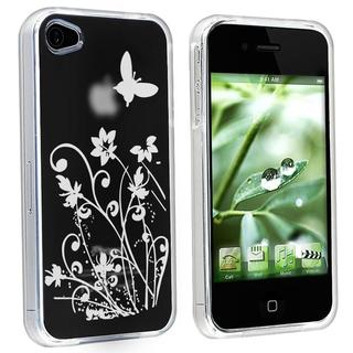 INSTEN Clear/ Flower Butterfly TPU Rubber Phone Case Cover for Apple iPhone 4