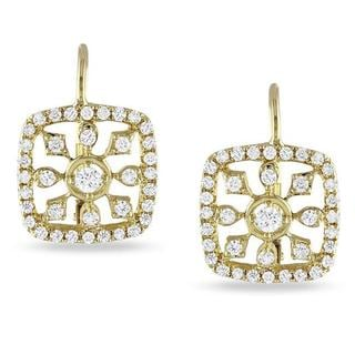 14k Yellow Gold 3/4ct TDW Diamond Dangle Earrings (G-H, I1)