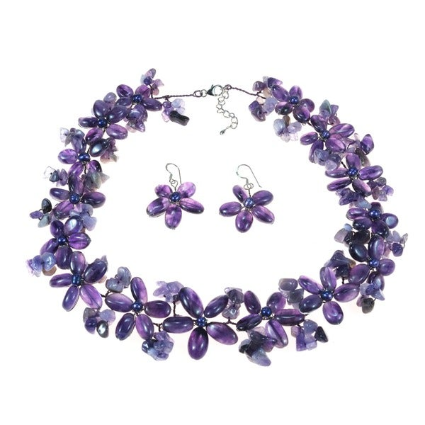 Purple Amethyst and FW Pearl Flower Jewelry Set (3-10 mm) (Thailand)