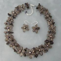 Smokey Quartz and Black Pearl Flower Jewelry Set (3-10 mm) (Thailand)