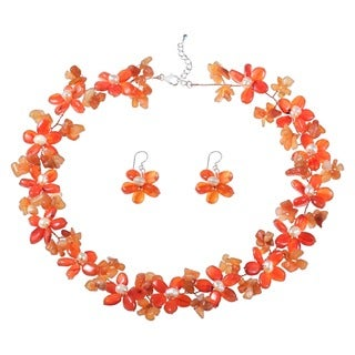 Orange Chalcedony and Pearl Flower Jewelry Set (3-5 mm) (Thailand)