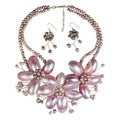 Pink Shell and Pearl Floral Jewelry Set (3-10 mm) (Thailand)