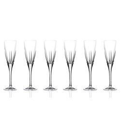 Fusion Collection Crystal Champagne Glasses (Set of 6)
