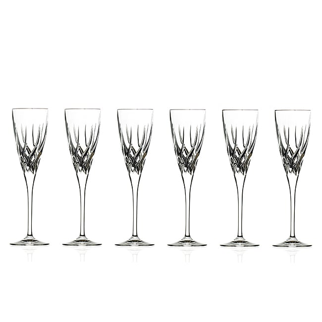 Trix Collection Crystal Champagne Glasses (Set of 6)