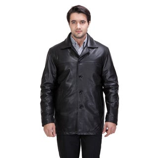 United Face Men's Lambskin Leather Car Coat