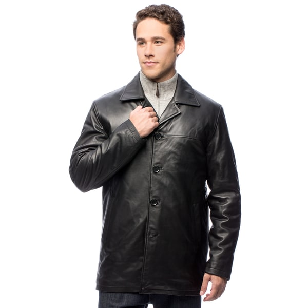 United Face Men's Lambskin Leather Car Coat
