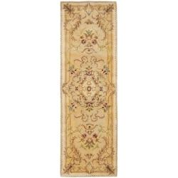 Safavieh Handmade Aubusson Creteil Beige/ Light Gold Wool Rug (2'6 x 10')
