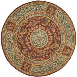 Safavieh Handmade Aubusson Bonnelles Red/ Beige Wool Rug (8' Round)