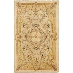 Handmade Aubusson Creteil Beige/ Light Gold Wool Rug (4' x 6')