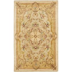 Handmade Aubusson Creteil Beige/ Light Gold Wool Rug (5' x 8')