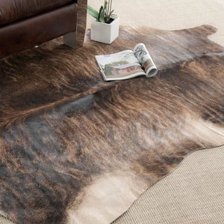 Handpicked Hacienda Argentinian Brown Black Cowhide Leather Rug (5' x 7')
