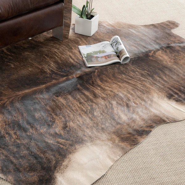 Safavieh Handpicked Hacienda Argentinian Brown Black Cowhide Leather Rug (5' x 7')