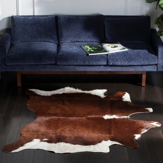 Handpicked Hacienda Argentinian Casual Brown Cowhide Leather Rug (5' x 7')