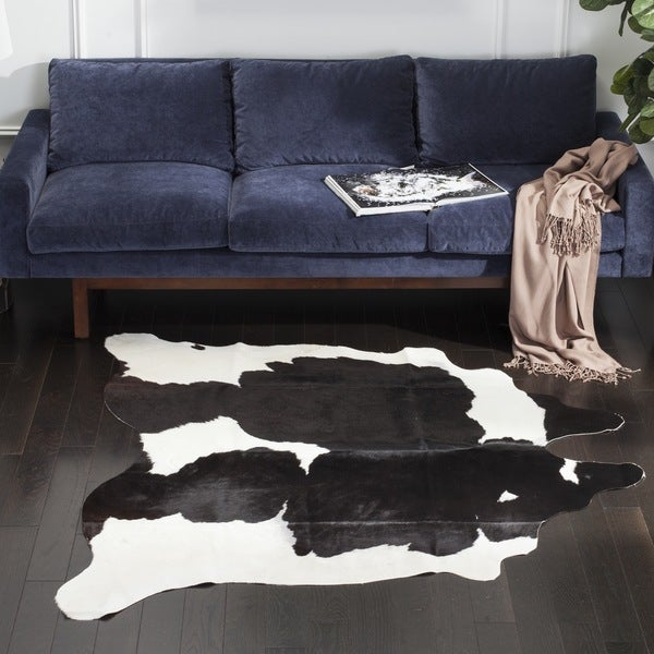 Nuloom Hand Picked Brazilian Black White Zebra Cowhide: Safavieh Handpicked Hacienda Argentinian Black Cowhide
