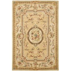 Handmade Light Gold/ Beige Hand-spun Wool Rug (6' x 9')