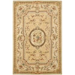 Handmade Light Gold/ Beige Hand-spun Wool Rug (9' x 12')