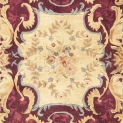 Handmade Aubusson Limours Burgundy/ Gold Wool Rug (8'3 x 11')