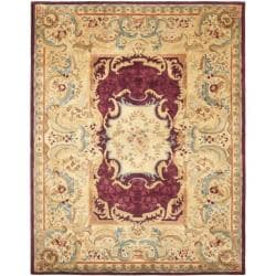 Safavieh Handmade Aubusson Limours Burgundy/ Gold Wool Rug (8'3 x 11')