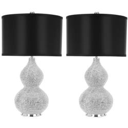 Indoor 1-light Silver Beaded Table Lamps (Set of 2)