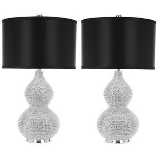 Safavieh Lighting 24-inches Silver Beaded Table Lamps (Set of 2)