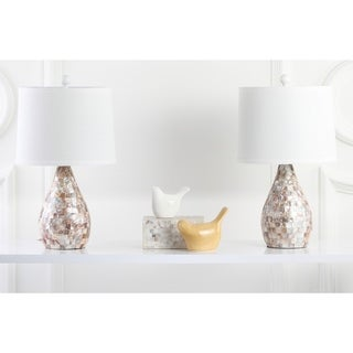 "Safavieh Lighting 21-inch Mother of Pearl Table Lamp (Set of 2) - 12""x12""x20.5"""