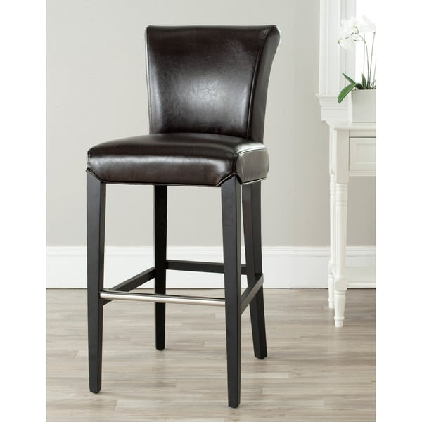 Safavieh 29.3-inch Betheny Brown Leather Bar Stool