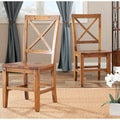 Safavieh Classical Chester Maple X-back Side Chairs (Set of 2)