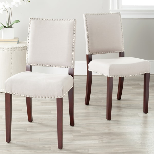 Safavieh En Vogue Dining Madison Nailhead Cream Linen Side Chairs (Set of 2)