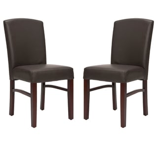 Safavieh Broadway Brown Leather Side Chairs (Set of 2)