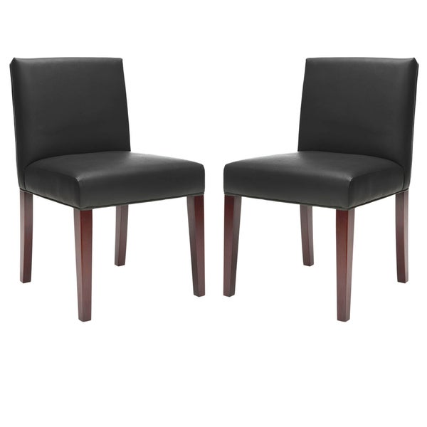 Safavieh Amsterdam Grey Black Leather Side Chairs (Set of 2)
