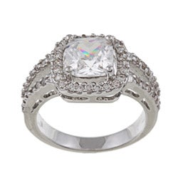 Silvertone Princess-Cut Cubic Zirconia Engagement Ring