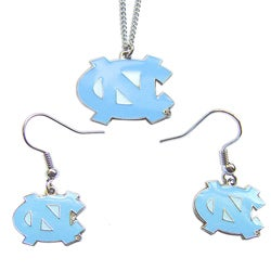 North Carolina Tarheels UNC Necklace Earring Charm Set