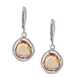 Silvertone Champagne Cubic Zirconia Dangle Earrings