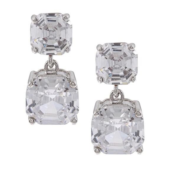 Silvertone Square Cubic Zirconia Dangle Earrings