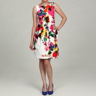 Eliza J Women's Floral Print Belted Dress