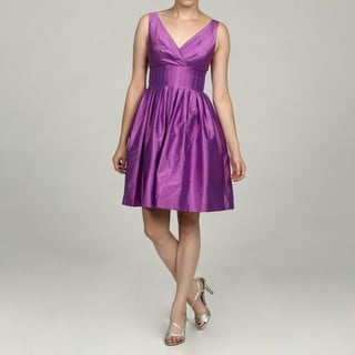 Eliza J Women's Lilac Silk Empire Stitch Party Dress